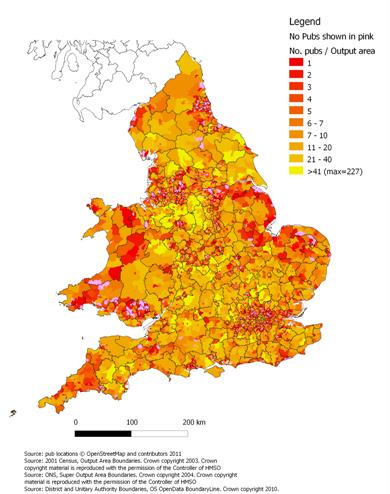 Map Of Uk Pubs.Maps Matter Updating Pub Density
