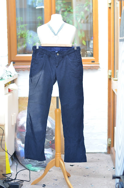 Front of corduroy trousers