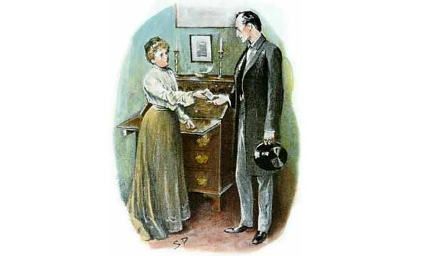 Sherlock Holmes accepts a check