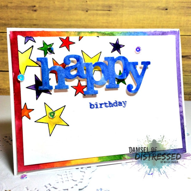 The Damsel Of Distressed Cards Rainbow Stamped Happy Birthday Card
