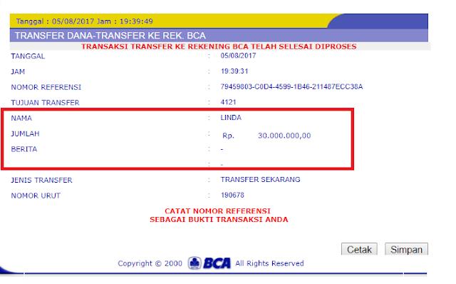 Bukti Transfer MandiriQQ Rp 30.000.000