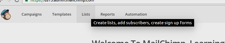 creating list in mailchimp