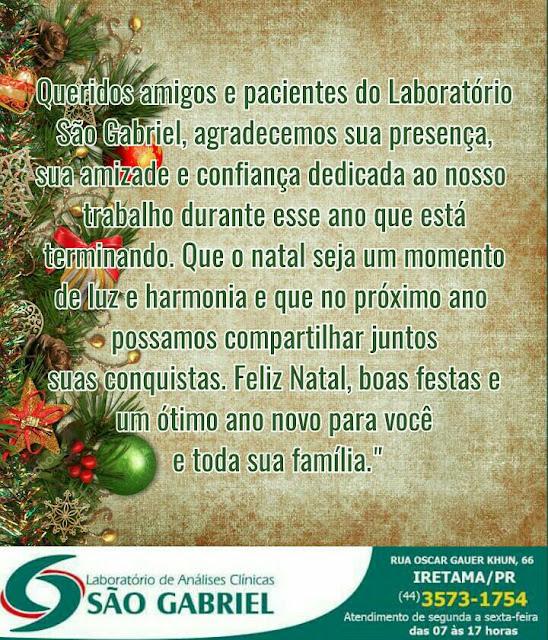 Mensagem de Natal: Laboratório de Análises Clínicas São Gabriel