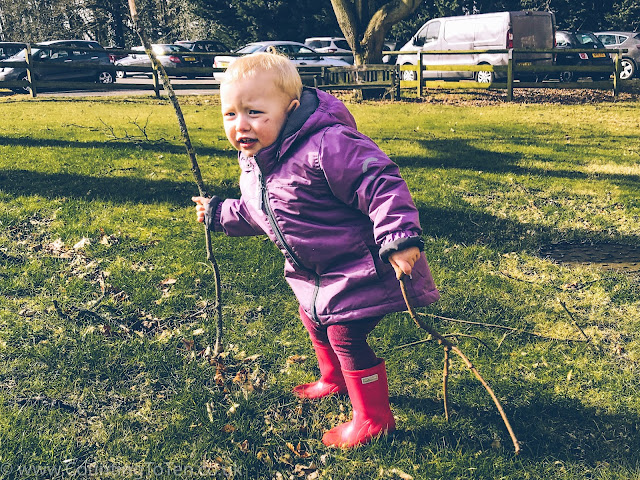 A toddler in a coat and wellies holding long sticks on a patch of grass