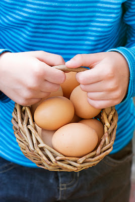 NAMC montessori nutrition is part of prepared environment holding basket of eggs