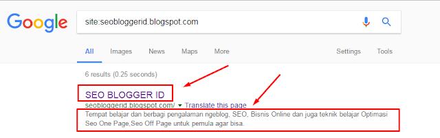 Cara Aktifkan Deskripsi Penelusuran Blogspot