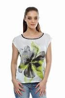 Bluza din satin cu imprimeu floral verde B16 (Ama Fashion)
