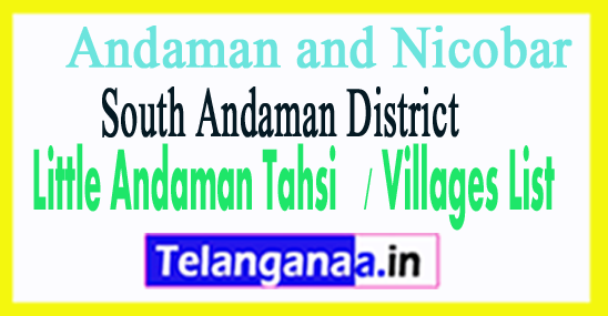 Little Andaman Tahsil Villages Codes South Andaman District Andaman and Nicobar Islands State