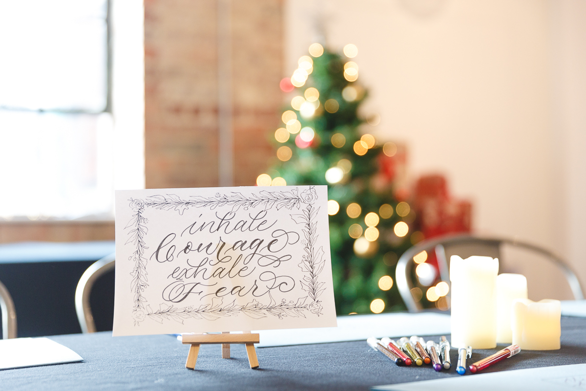 Calligraphy and pens with Christmas decorations