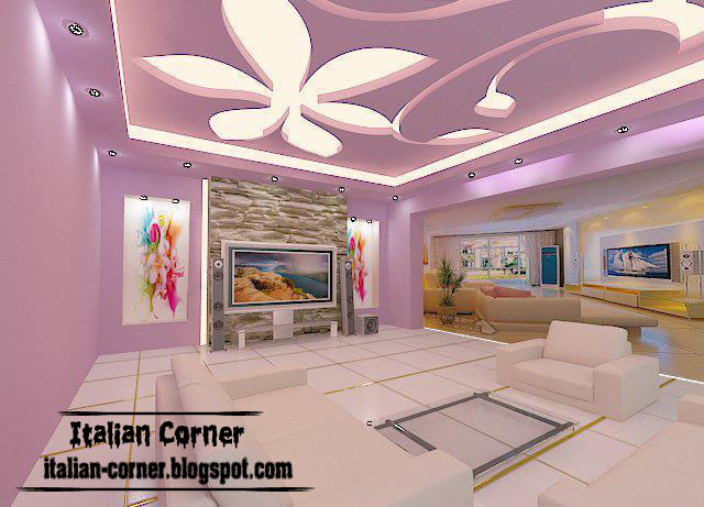 Italian Gypsum Ceiling Interior Design 2013 For Living Room