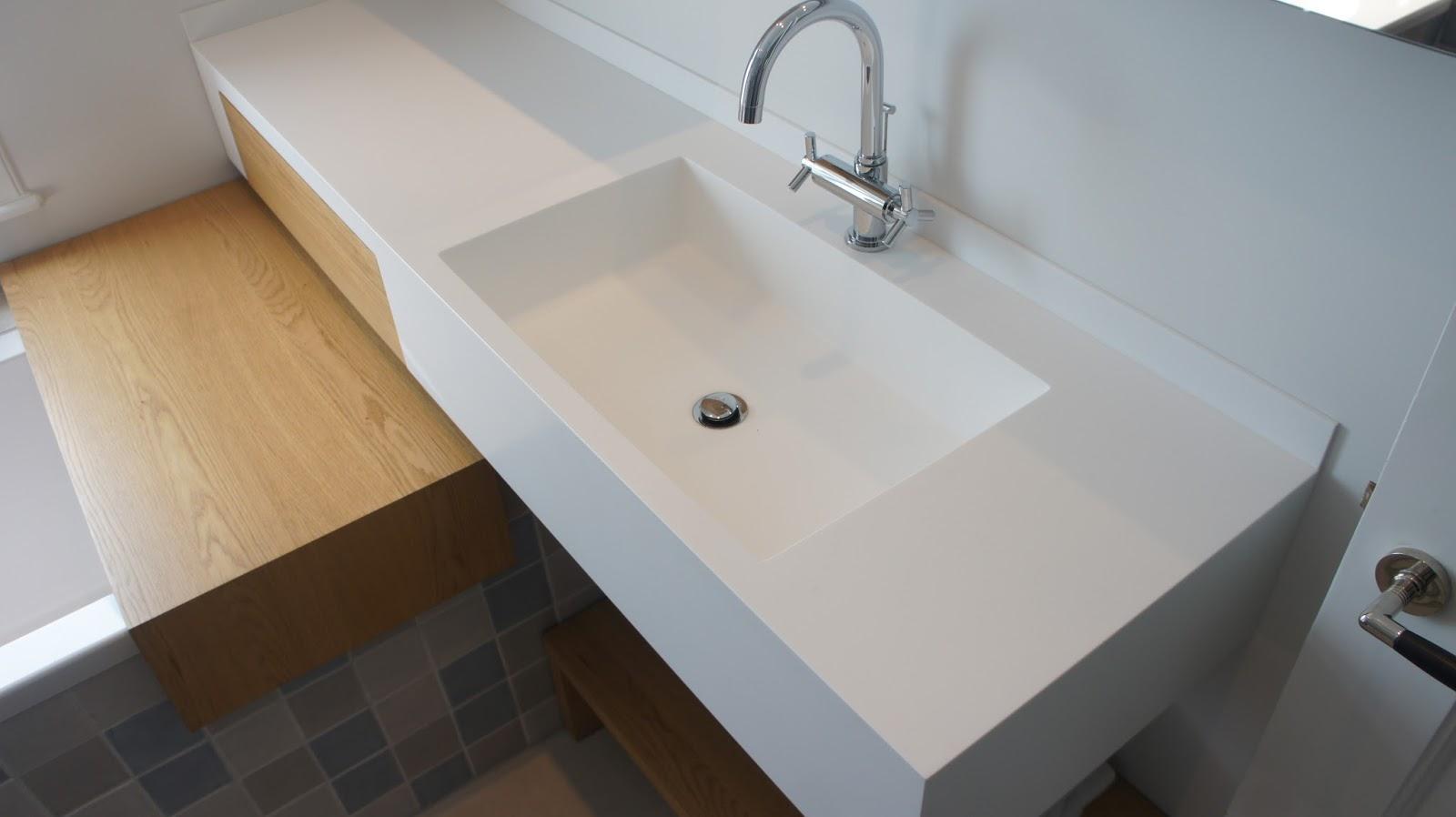 Onderbouw wasbak badkamer wastafels van hi macs solid surface van