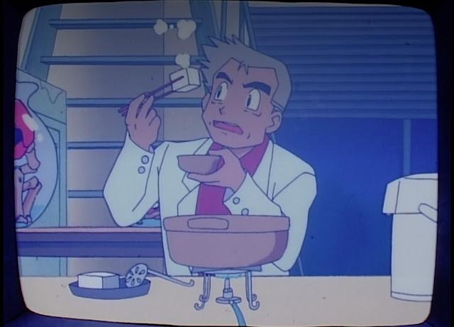 Profesor Oak comiendo tufo, o al menos un cuadrado blanco con palillos