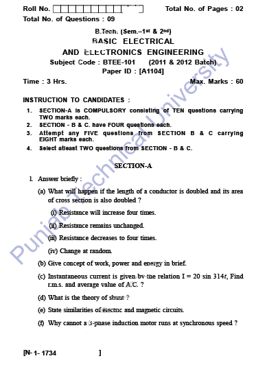 PTU B Tech 1st Year BEEE-101 Basic Electrical and