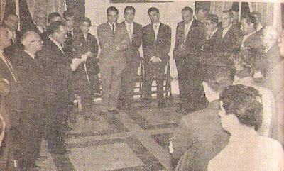 Félix Heras y Antonio Romero Ríos en la apertura del Campeonato de España de Ajedrez 1957