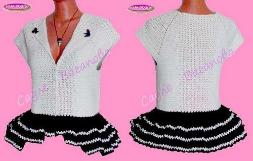 Вязание баски на блузе