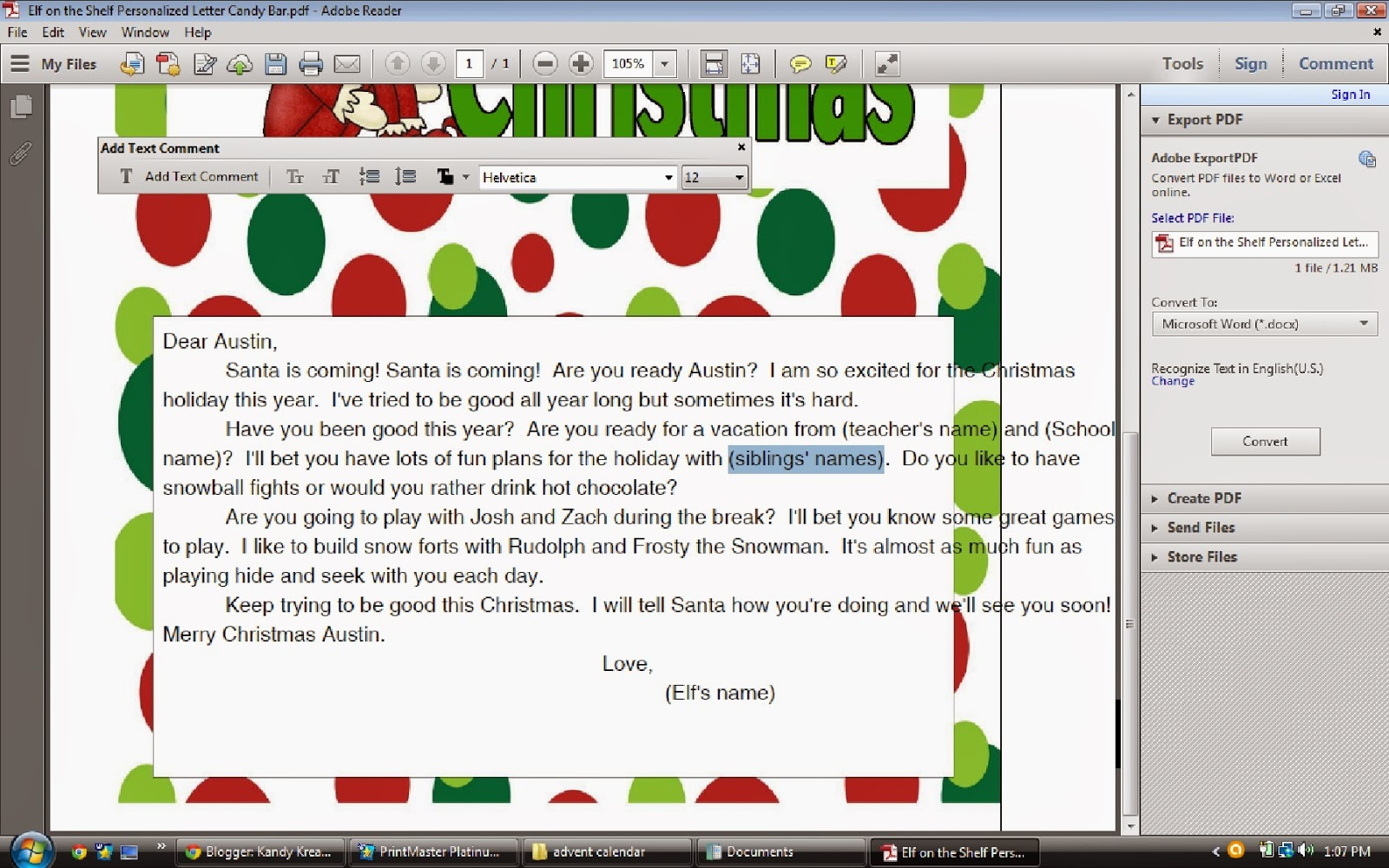 Make an Elf on the Shelf personalized letter