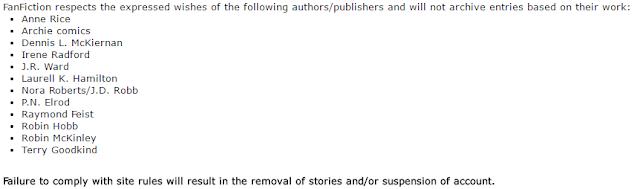 Fanfiction prohibidos en Fanfiction.net por petición de los autores