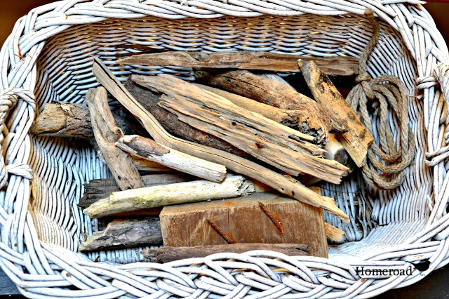 Basket of driftwood pieces