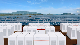 Solar Farm and Tesla Energy storage (Credit: Tesla) Click to Enlarge.