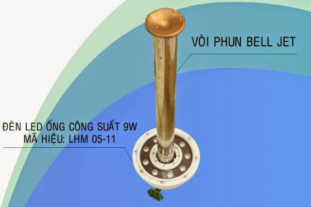 lắp đặt đèn led âm nước với vòi phun Bell Jet