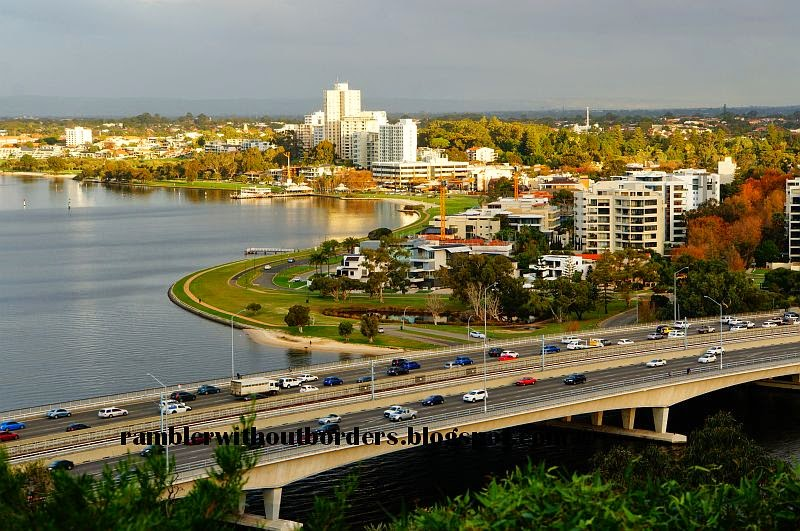 View of Swan River, Kwinana Freeway, Mill Point from Kings Park, Perth, WA, Australia