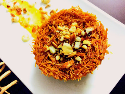 Yummy dessert recipes vermicelli kunafa recipe with paneer cream for this bubbly season attempt your hands on some non conventional dishesy this arabic dish kunafa kunafa is generally made with kataifi which is a forumfinder Choice Image