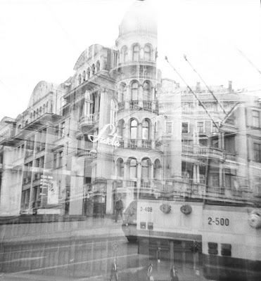 riga, soviet, overlapping photo, classicism, architecture, monochrome, capital r, 2018