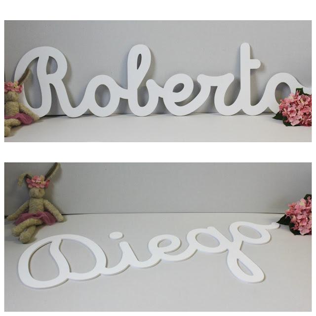 letras en caligrafía Roberto nombre  para decoración habitación infantil