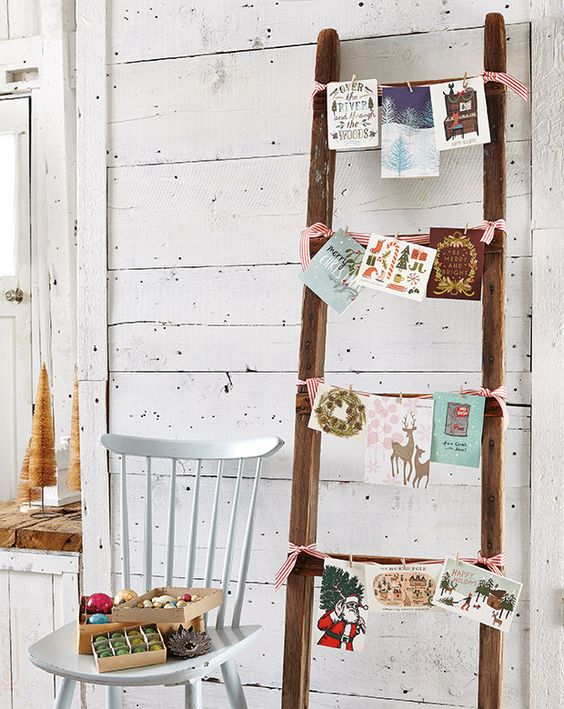 Christmas card display ladder