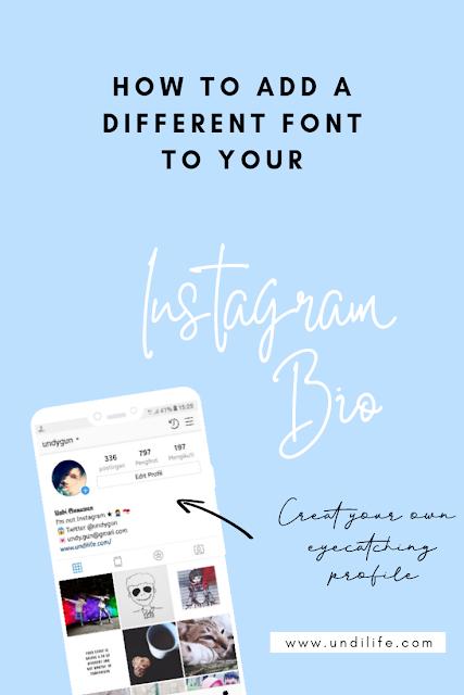 Mengubah font nama Instagram bio