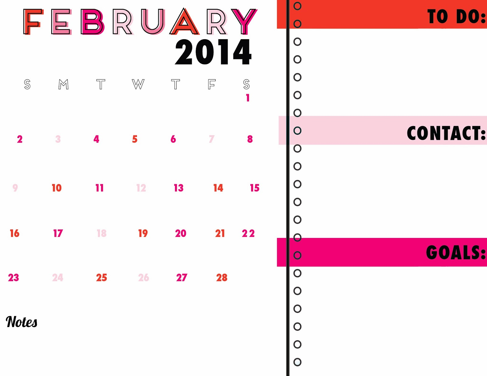 Idlized Free Printable Calendar Organizer February