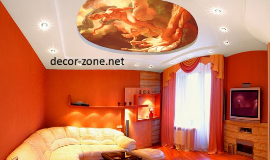 orange bedroom false ceiling designs