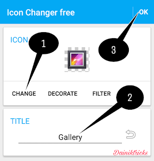 App editing page in icon change