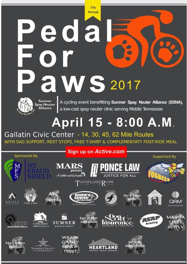 Sumner ARES for be assisting the Pedal for Paws organizers again for their  2017 7th annual cycling event to support the Sumner County Spay Neuter  Alliance.