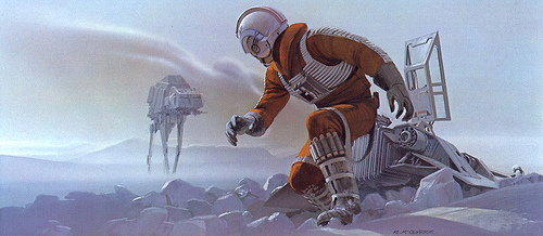 Luke attacked by AT-AT walker concept art