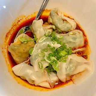 Vegetable & pork wontons in spicy sauce at Din Tai Fung