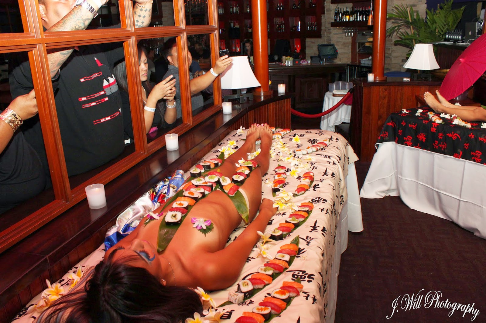 Naked sushi leads to hot lesbian sex for these two babes