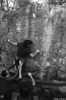 La directe de la voie de l'arbre, 7A+, JA Martin, Trois Pignons