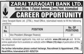 Recent Jobs annoucned in Zarai Taraqiati Bank Ltd 2018