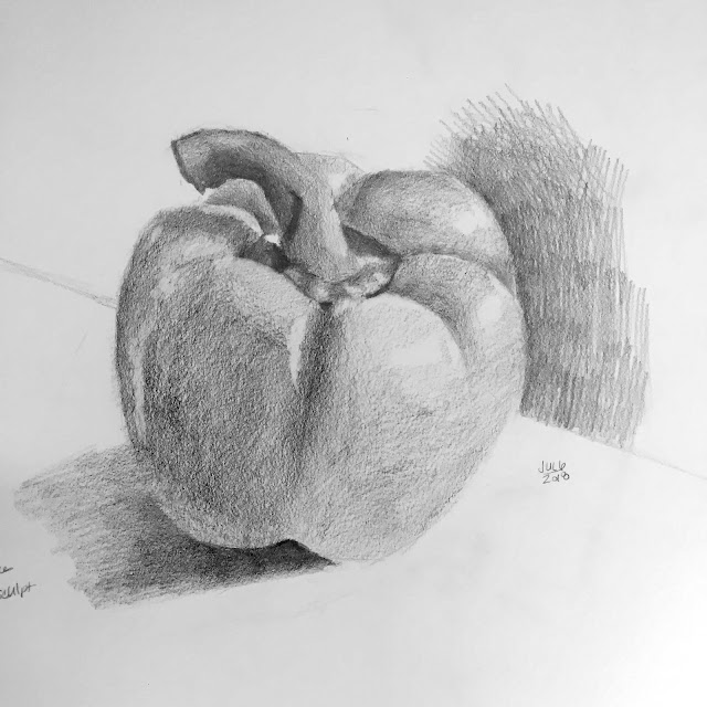 Daily Art 07-06-2018 graphite drawing of yellow bell pepper based on Dianne Mize 4 Steps to Skillful Drawing
