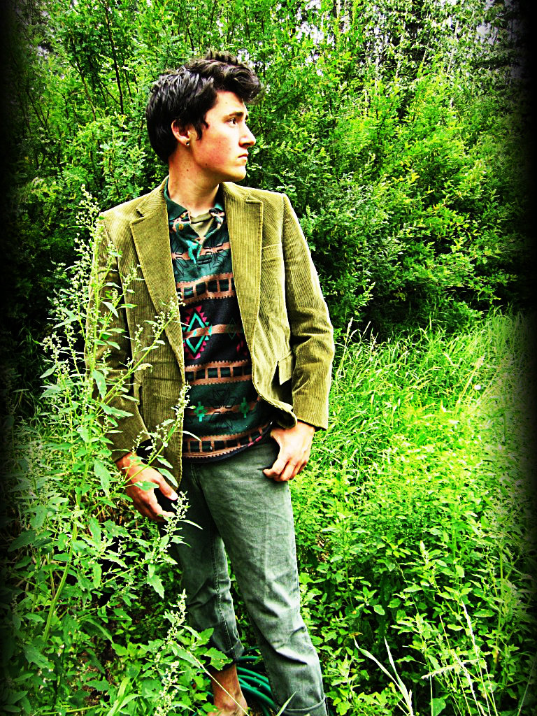 Sage Green Denim; Tribal Print Polo; Olive Corduroy Blazer