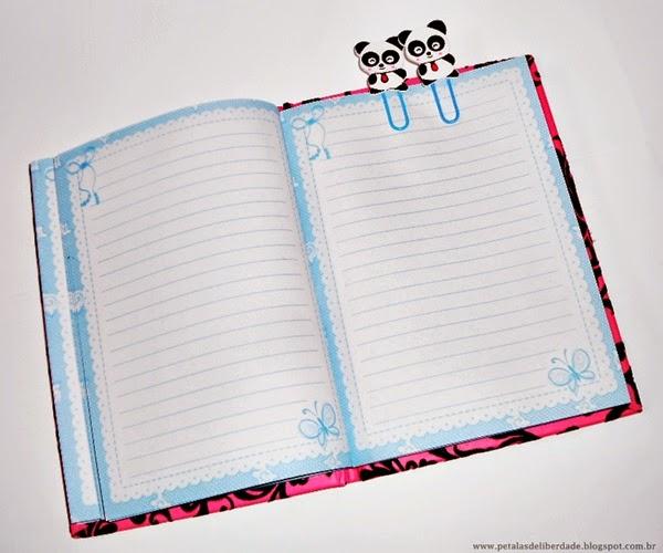 diário, agenda, caderninho, clips de panda