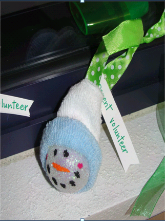 snowman parent gift ornament with baby socks
