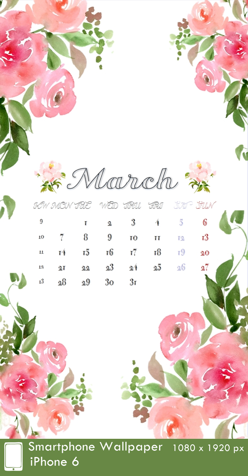 iPhone 6 Wallpaper Calendar 3 March 1080 x 1920 px
