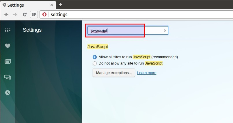 Open source how to enabledisable javascript in your web browser type chromesettings in location bar and press enter button and then type javascript in search box present in settings window ccuart Gallery