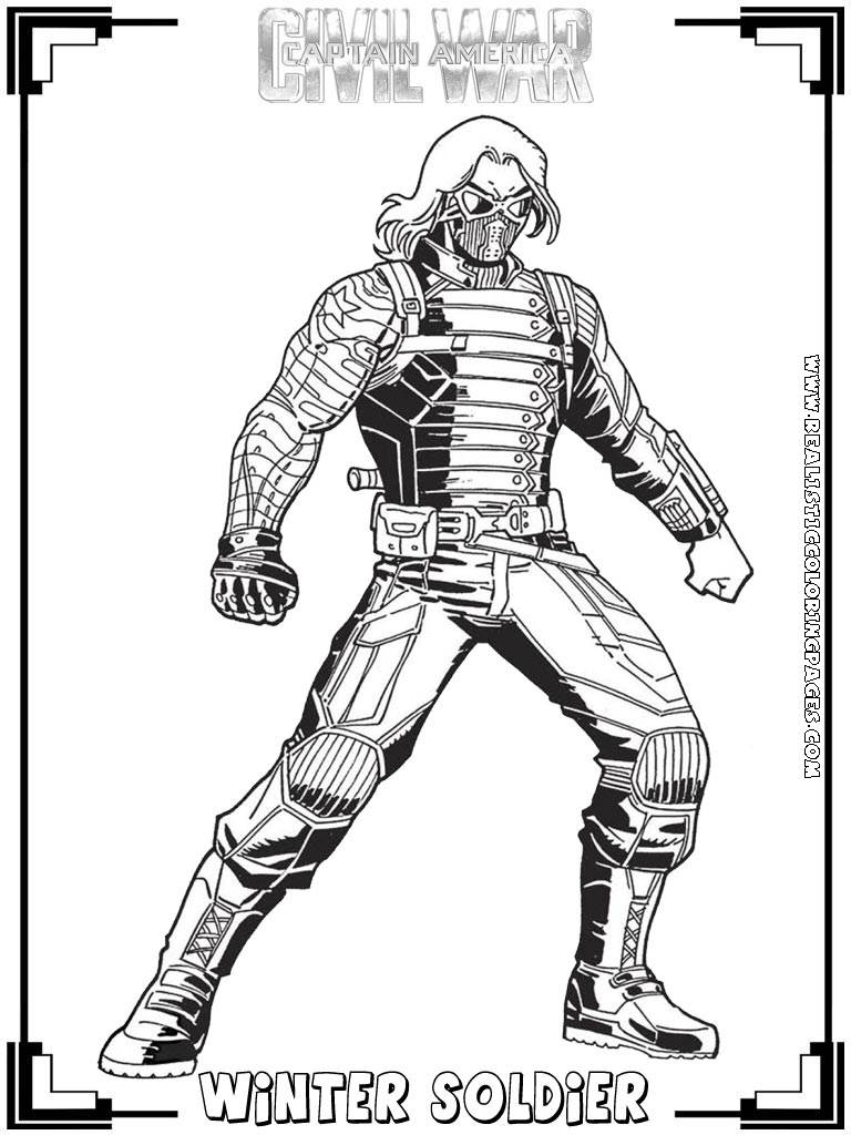 Civil War Captain America Coloring Pages Printable Sketch