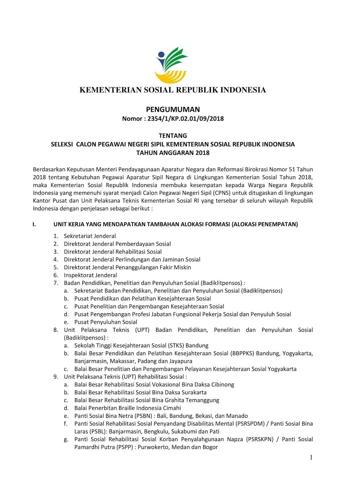 Lowongan Kerja   CPNS Kementerian Sosial Republik Indonesia [210 Formasi]  Oktober 2018