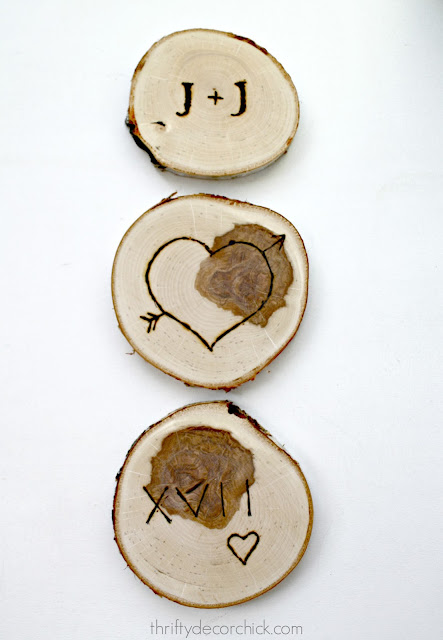 DIY wood slice wood burning craft