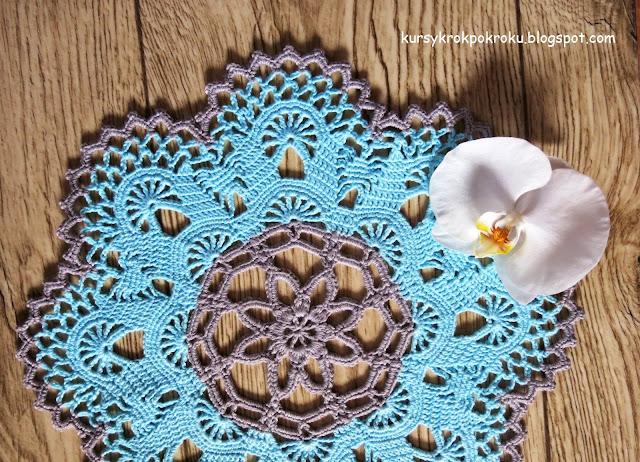 Turkusowo - szara serwetka na szydełku :) Piękny wzór + schemat