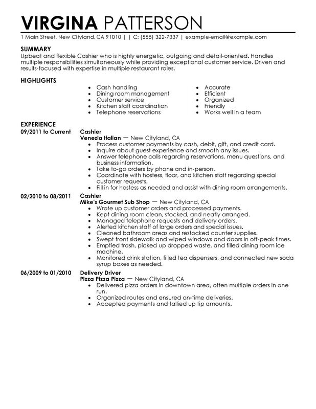 cashier duties for resume example
